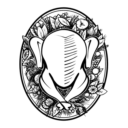 chiken: Roasted turkey top view. Turkey on plate with vegetables and fruits isolated vector illustration. Black on white hand drawing vector