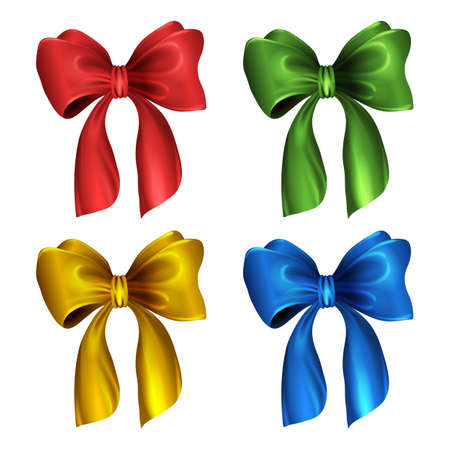 clipart wrinkles: Gift or holiday bow and ribbon. Set of bows. Vector isolated illustration on white background. Easy to recolor