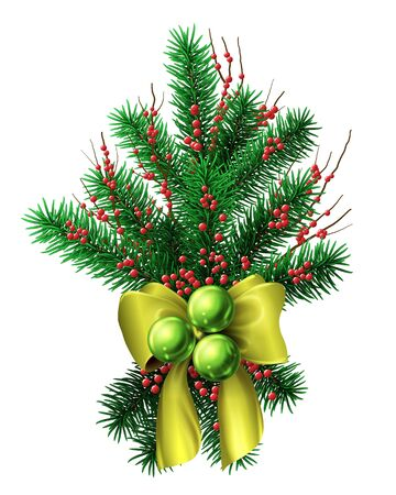 small christmas tree decoration with gold bow ribbons red berries and green baubles vector isolated
