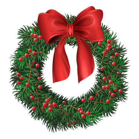 circular shape: Evergreen holiday wreath with red bow and berries in circular shape. Vector isolated illustration