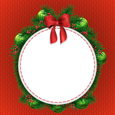 arbre     ? � feuillage persistant: Christmas greeting card with evergreen tree decorations with red bow and circle white copyspace on red textured background