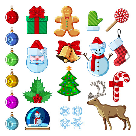 snowglobe: Christmas icon or symbol set. Collection of colorfull symbol. Simple color without gradients. Easy to recolor. Vector isolated illustration of santa, holly, snowman, snowglobe, reindeer, candy, gingerbread man, bell, gift box, bulb, christmas tree, sock a Illustration