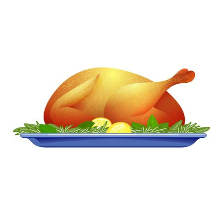 roasted turkey: Garnished roasted turkey on plate for Thanksgiving day. Vector colorful isolated illustration on white background