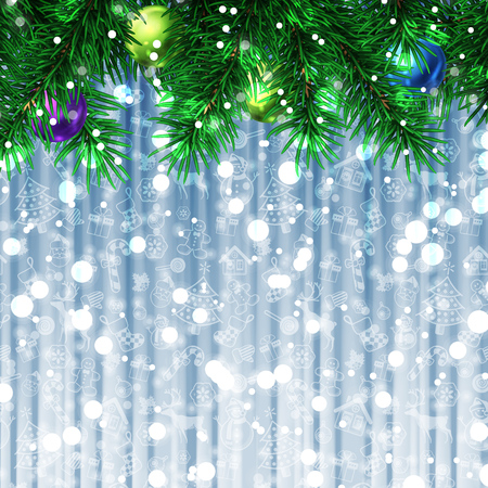 copyspase: Christmas tree decoration greeting card with copyspase on blue and white pattern background snow. Vector illustration