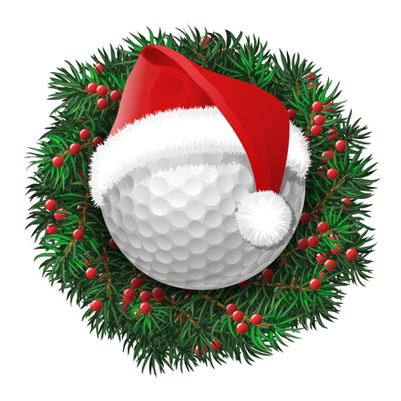Golf ball over evergreen holiday wreath decorated with red berries. Vector isolated illustration