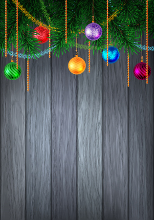 tinsel: Christmas or New Year colorful greeting card with evergreen pine branch and baubles with tinsel.  Illustration