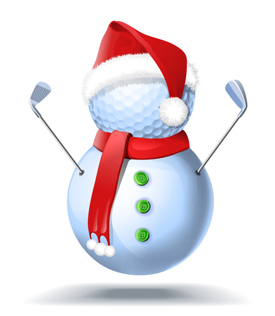 Snowman golfer with irons in red Santa Santa hat on golf ball. Ilustração
