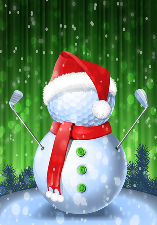 Snowman golfer with irons in red Santa Santa hat on golf ball. Vector isolated illustration on green and blue background with snowflakes