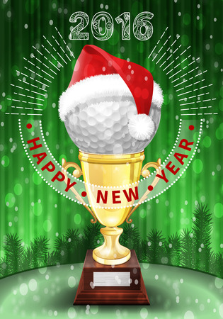 snow ball: Golf ball and Santa red hat on trophy. New Year colorful greeting card with numbers of 2016.