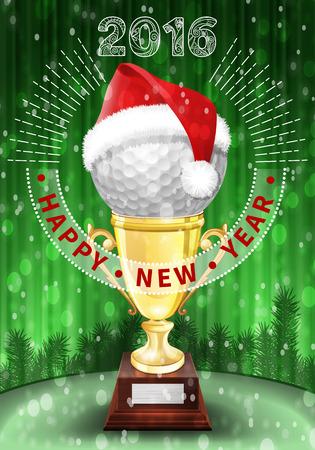 golf  ball: Pelota de golf y Santa sombrero rojo en trofeo. Año Nuevo tarjeta de felicitación colorida con los números de 2016.