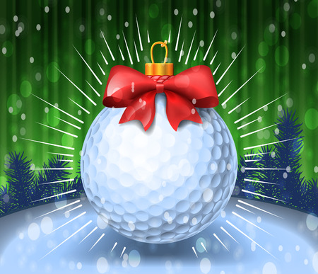 course: Golf ball with red bow on colorful background. Holiday greeting card example. Vector illustration Illustration