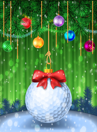 Golf ball with red bow on colorful background. Holiday greeting card example. Christmas evergreen pine with tinsel and baubles. Vector illustration