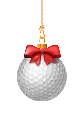 christmas golf: Golf ball like christmas baubles. Ball with red bow. Vector isolated illustration on white background