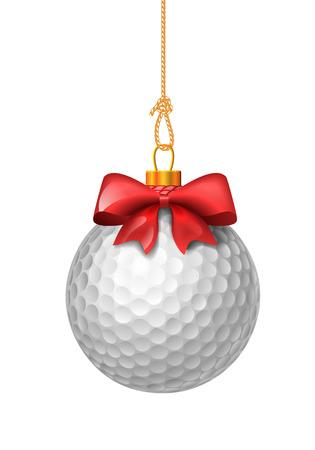 pelota: Pelota de golf como adornos de Navidad. Bola con el arco rojo. Ilustraci�n vectorial aislado sobre fondo blanco