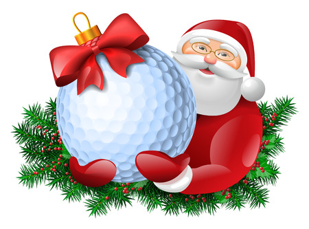 play golf: Santa Claus holding golf ball gift with red bow. Evergreen around santa. Vector colorful isolated illustration.