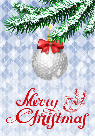 red ball: Golf ball in shape of christmas bauble on christmas tree with snow on evergreen branches. Vector illustration on blue background with argyle pattern