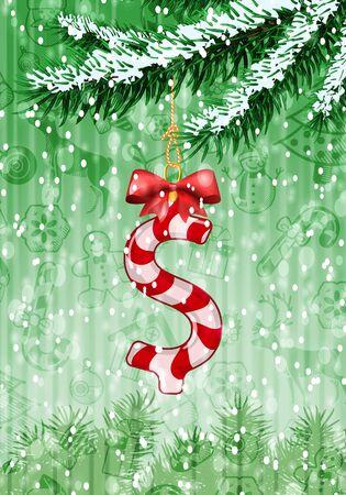 signo pesos: signo de dólar en forma de caramelo en el árbol de Navidad con nieve en las ramas de hoja perenne. Ilustración vectorial sobre fondo verde con textura vacaciones Vectores
