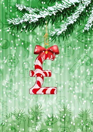 profit celebration: Pound sign in shape of candy on christmas tree with snow on evergreen branches. Vector illustration on green background with holiday texture Illustration