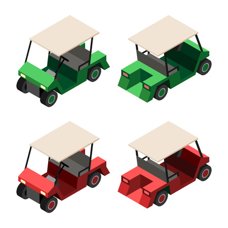 golf cart: Golf cart. Set of golf cart in red and green colors. Front and rear side isometric 3d view. Vector isolated illustration