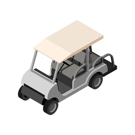 golf cart: Golf cart in white color. Isometric 3d side view. Vector isolated illustration