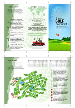 Tri fold golf brochure design. Annual golf tournament Illustration