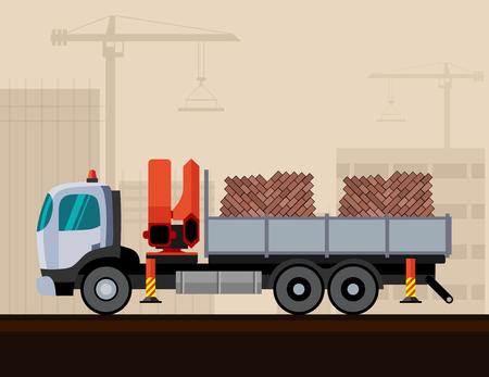 Truck crane with bricks cargo. Vector illustration on construction background