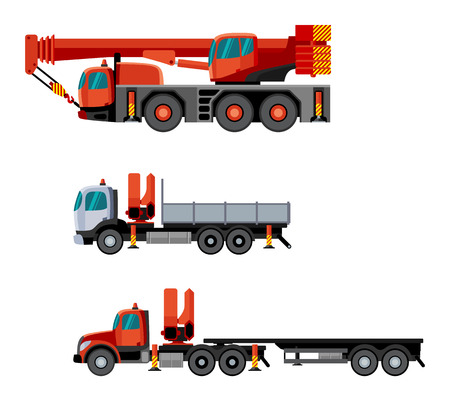 crane truck: Flat style cranes mounted on trucks. Vector crane truck contruction set. Vector isolated illustration