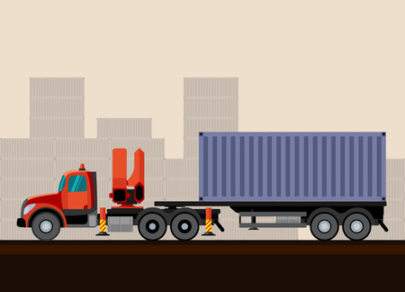 telescopic: Truck crane trailer with container cargo. Vector illustration on background