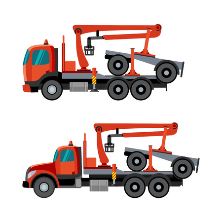 Trucks With Crane Hydraulic Arm Dolly Trailer On The White Background Vector Isolated Illustration