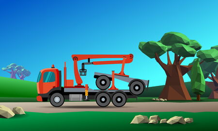 Truck with crane hydraulic arm dolly trailer on the forest background. Vector illustration Illustration
