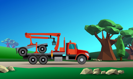 dolly: Truck with crane hydraulic arm dolly trailer on the forest background. Vector illustration Illustration