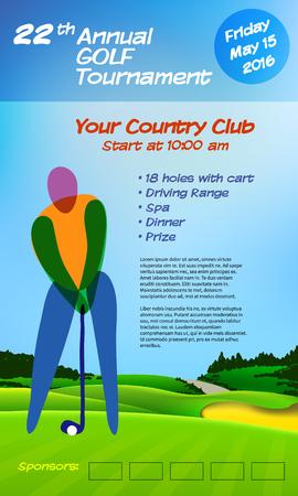 sand trap: Golf ticket brochure template. Annual golf tournament. Vector illustration