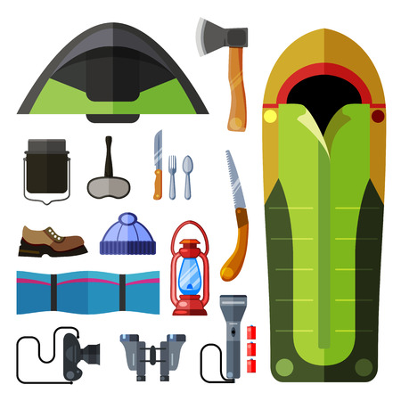 sleeping bag: Camping flat style colorful icon set. Vector isolated illustration Illustration