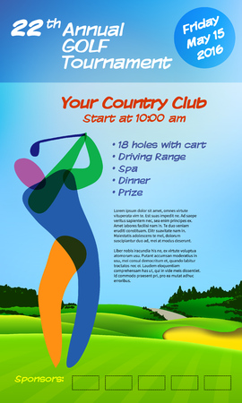 drive ticket: Golf ticket brochure template. Annual golf tournament. Vector illustration