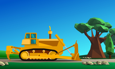 dozer: Dozer at forest vector color illustration in simple spot color low poly style Illustration