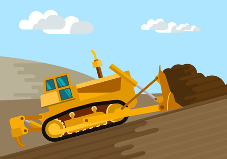 excavate: Dozer removal of the top ground layer vector color illustration in simple spot color