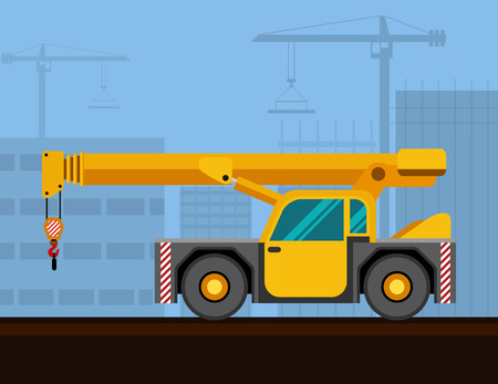 carry on: Carry deck industrial crane mounted on truck with construction background. Side view mobile crane vector illustration