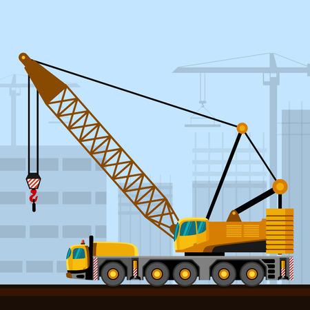 motor de carro: Montadas sobre camión pluma de celosía con antecedentes de la construcción. Vista lateral de la grúa móvil ilustración vectorial