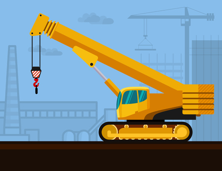 Crawler telescopic boom crane with construction background. Side view mobile crane illustration