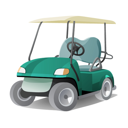Golf cart with shadow. Abstract isolated color illstration