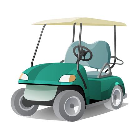 Golfkar met schaduw. Abstracte geïsoleerd kleur illstration