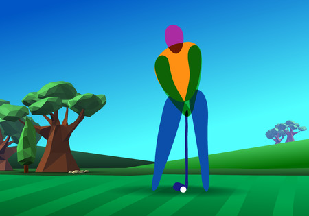 golf hole: Golf player on golf hole  green tee background illustration with trees