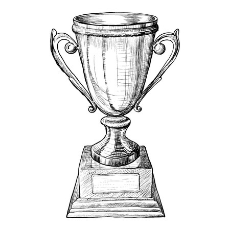achivement: Cup trophy on wooden pedestal black and white sketch. illustraton Illustration
