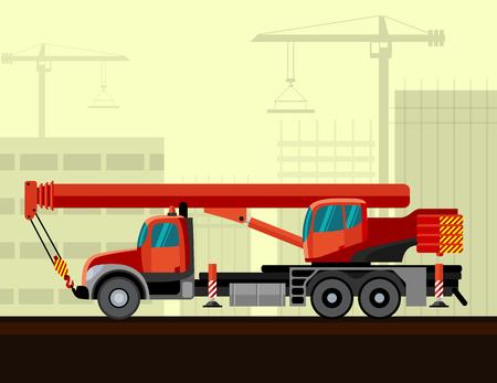 motor de carro: Montadas sobre cami�n pluma telesc�pica con el fondo de la construcci�n. Vista lateral de la ilustraci�n gr�a m�vil