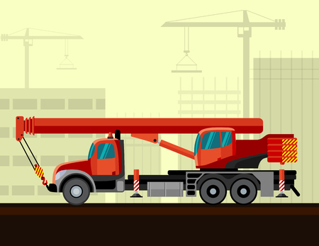 telescopic: Truck mounted telescopic boom with construction background. Side view mobile crane illustration