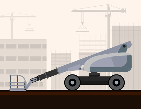 man side view: Aerial man lifts crane with construction background. Side view mobile crane illustration
