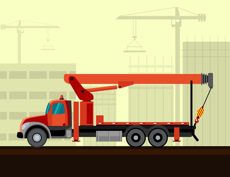 side view: Boom truck crane mounted on truck with construction background. Side view mobile crane illustration Illustration