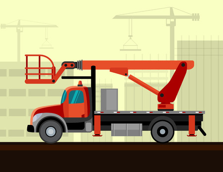 Bucket sign crane mounted on truck with construction background. Side view mobile crane illustration