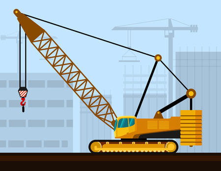 crawler: Crawler lattice boom crane with construction background. Side view mobile crane illustration