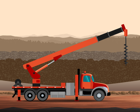 elevate: Digger utility crane mounted on truck with construction background. Side view mobile crane illustration